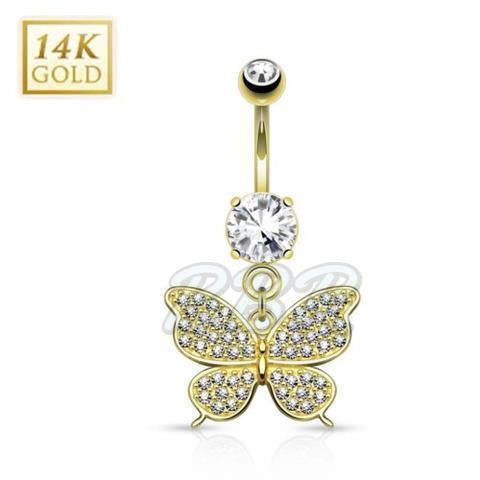 Crystal Pave Butterfly 14K Yellow Gold Belly Bar
