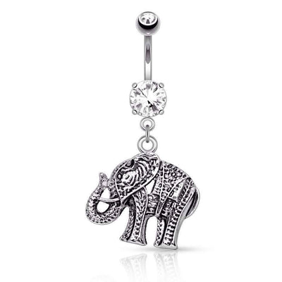 Tribal elephant Belly Button Ring
