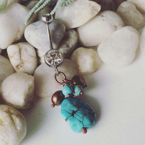 Turquoise & Natural Pearl Belly Button Ring