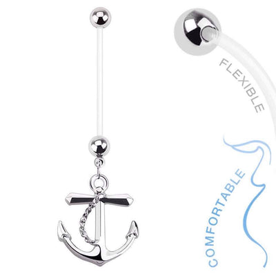 Anchor Flexible Pregnancy Belly Piercing Ring