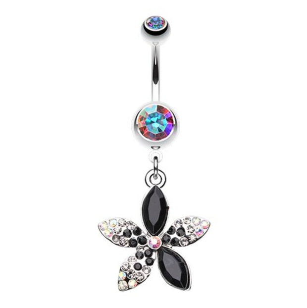 Springs First Flower In Black Dangle Navel Bar
