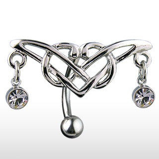 Tribal Triple Cubic Zirconia Gem Reverse/Top Down Navel Ring