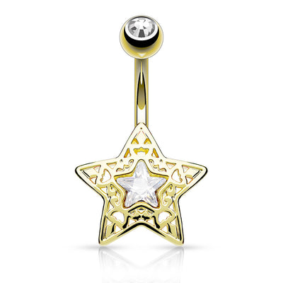 Golden Filigree Star Belly Ring