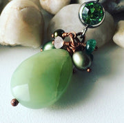 """Naked Gem"" Natural Jade with Peridot, Pearls and Quartz Belly Ring"