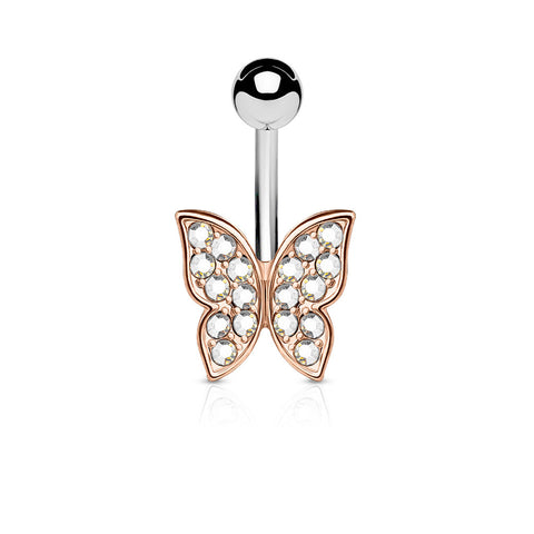 Crystal Butterfly Belly Ring