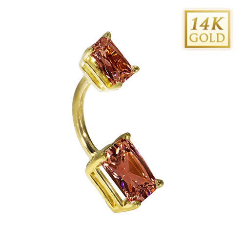 14k Yellow Gold Emerald Cut January Belly Ring