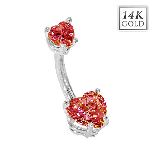 White Gold July Birthstone Belly Bar in Ruby Red Love Hearts