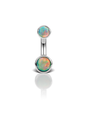 Petite Natural Opal Bezel 14k White Gold Belly Ring