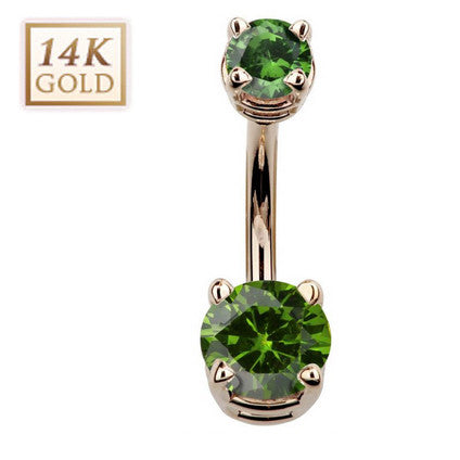 August Birthstone Peridot Gem Rose Gold Belly Bar