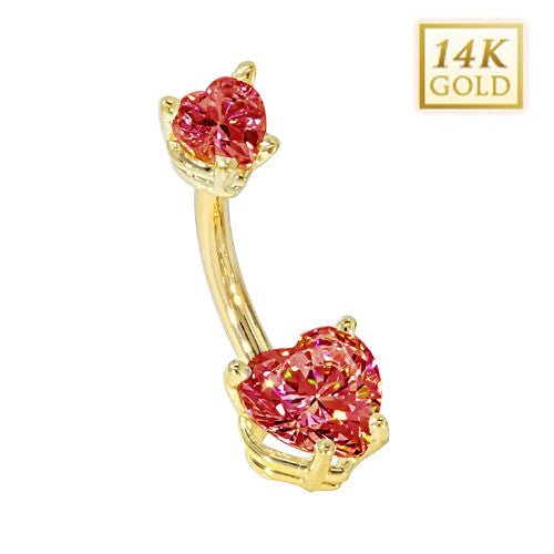 Ruby Hearts Solid Yellow Gold Belly Bar (July)
