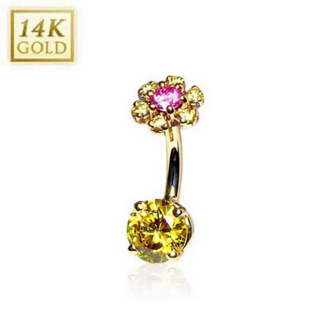 Citrine Daisy Flower 14k Yellow Gold Gem Belly Rings