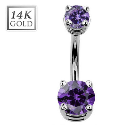 Birthstone February Amethyst Gem Solid 14k White Gold Belly Ring