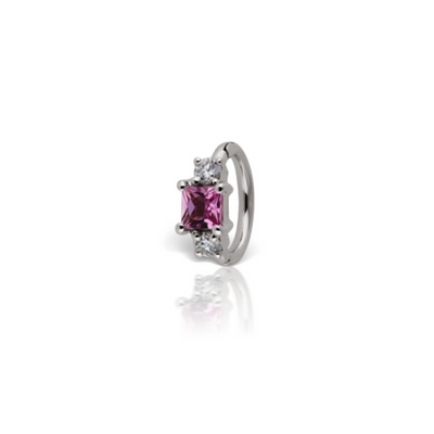 18k White Gold Belly Ring with Pink Sapphire