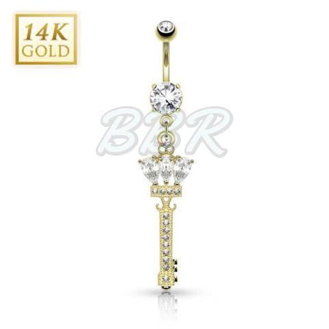 Sparkling Crown Key 14K Yellow Gold Belly Bar
