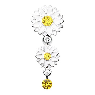 Beach Daisy Flower Reverse Belly Ring