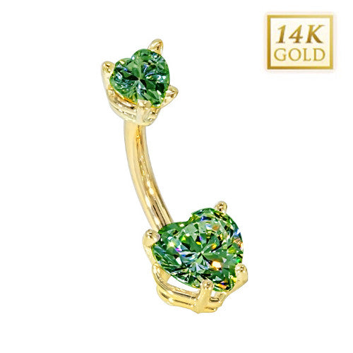 Emerald Hearts Solid Yellow Gold Belly Bar (May)