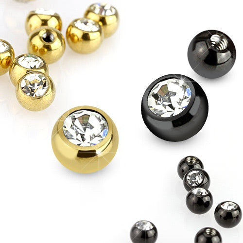 Press Fit Cubic Titanium IP Ball Body Jewellery Parts