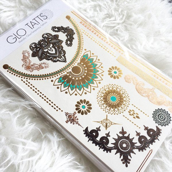 GLO TATTS® Devi Pack Metallic Temporary Tattoos