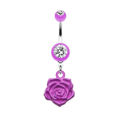 Immortal Rose Acrylic Belly Button Ring Jewellery