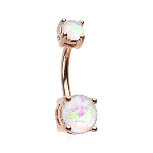 Glam Mountain Mist Opal Belly Bar in Rose Gold