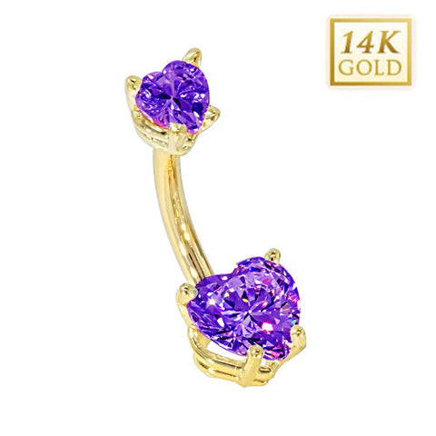 Amethyst Hearts Solid Yellow Gold Belly Bar (February)