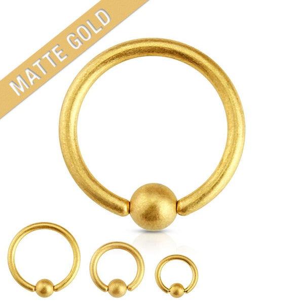 Matte Gold Plated Captive Navel Ring
