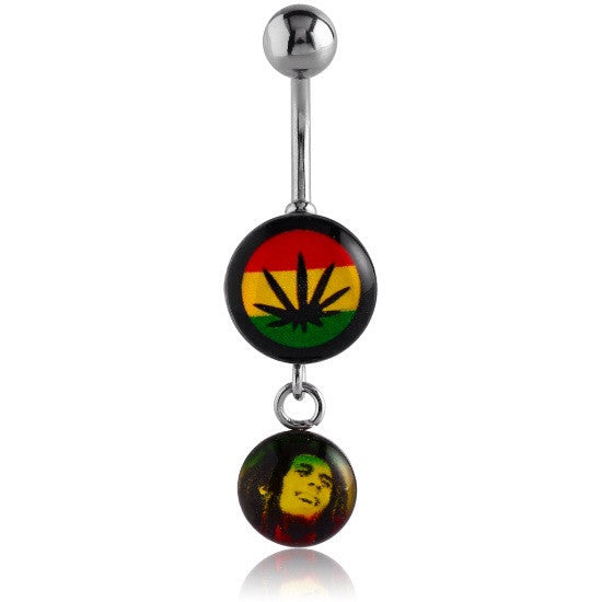 Rasta Weed Dangly Navel Ring Jewellery