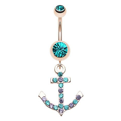 Gold Plated Anchor Belly Rings