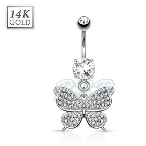 Crystal Pave Butterfly 14K White Gold Belly Bar