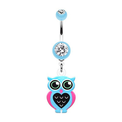 Blue Owl Love Dangle Acrylic Navel Ring Jewellery
