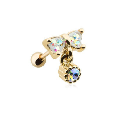 Golden Aurora Bow-Tie Tragus Cartilage Earring