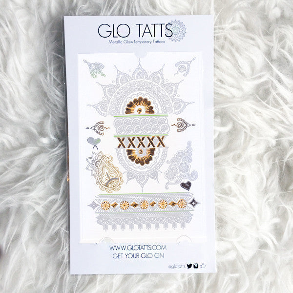 GLO TATTS Amala Pack - White Metallic Temporary Tattoos