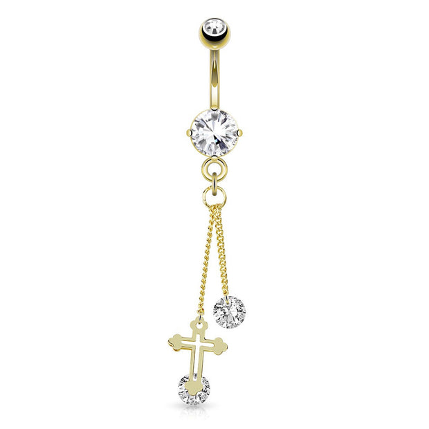 Gold Plated Crucifix And Gems Dangle Belly Ring