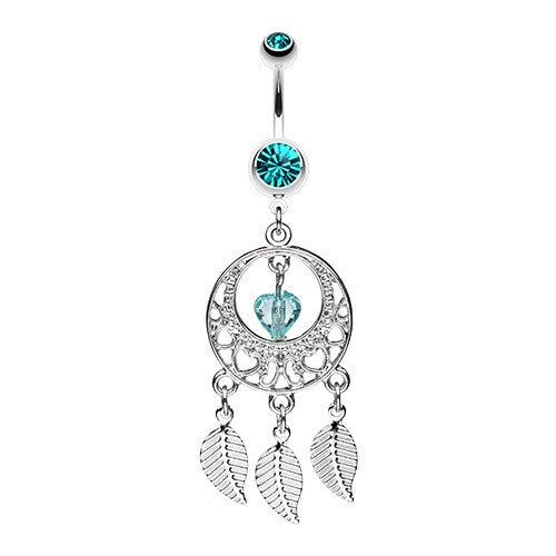 Hearts And Teal Dream Catcher Dangling Belly Ring