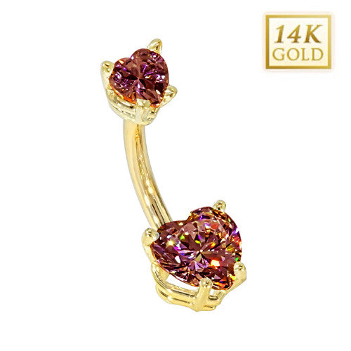 Garnet Hearts Solid Yellow Gold Belly Bar (January)