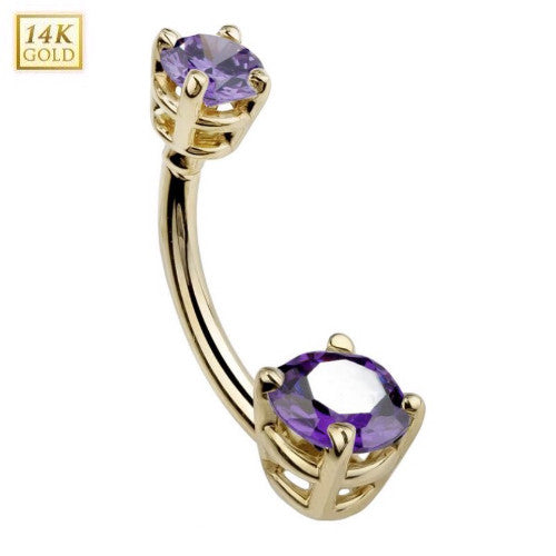 Double Prong Birthstone Belly Bar for February in Amethyst