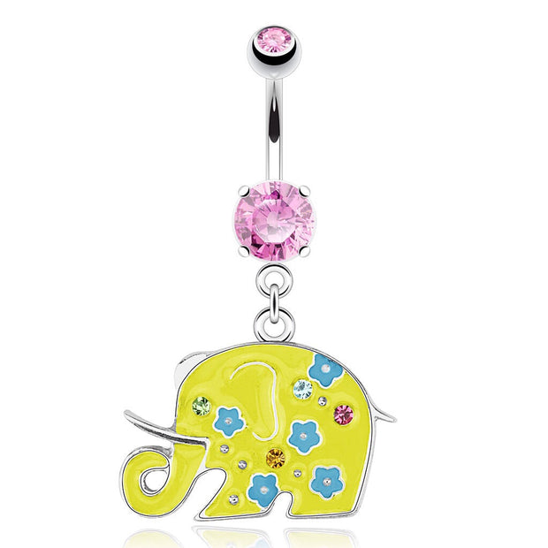 Sunshine Yellow Floral Elephant Animal Dangling Navel Ring
