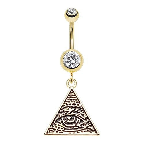 Golden Eye Of Providence Dangling Belly Ring