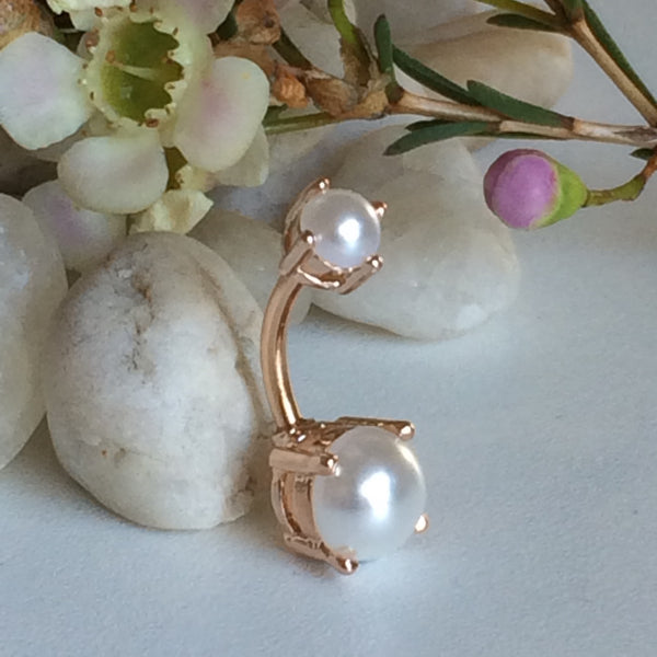 Rose Gold Glamour Pearl Belly Bar