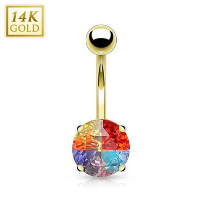 Miracle Gem 14k Solid Gold Belly Ring