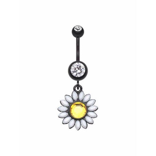 Midnight Daisy Dangle Belly Ring