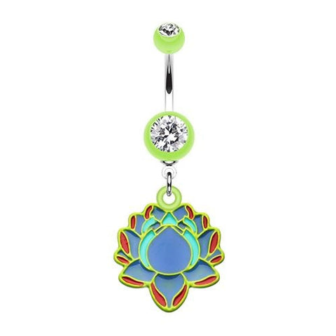Bright Lotus Acrylic Dangling Belly Button Ring