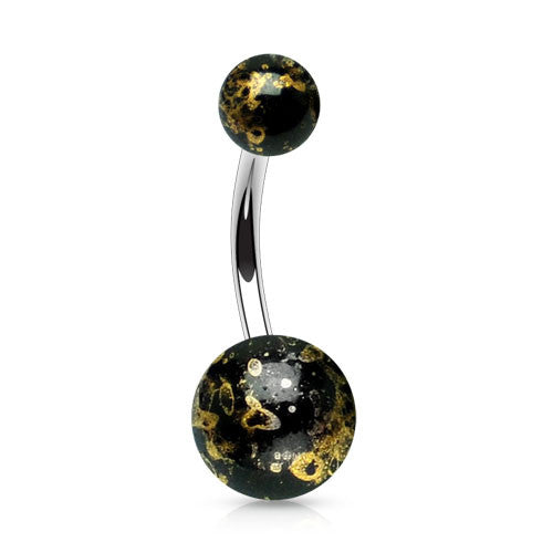Black Fossil Acrylic Belly Bar
