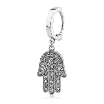 Crystal Pave Hamsa Belly Huggy