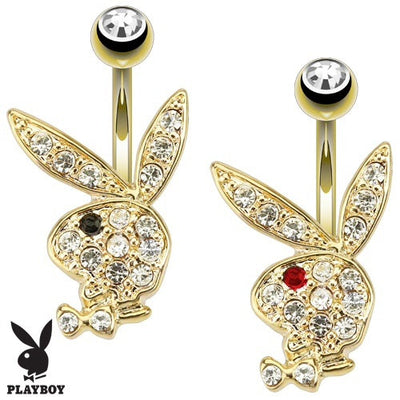 Playboy Bunny With Multi Paved Gem Fixed Belly Ring