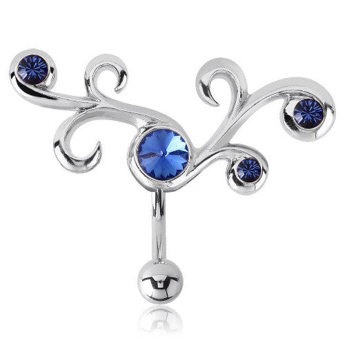 Blue Sapphire Vine Reverse Belly Ring