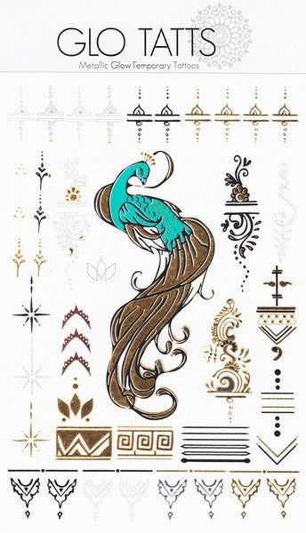 GLO TATTS® Peacock Pack (large size tattoo sheet)