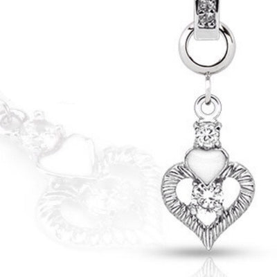 Sparkling Double Heart With Cubic Zirconia Hanger Charm