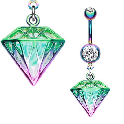 Colourline Iridescent Urban Diamond Dangle Navel Ring