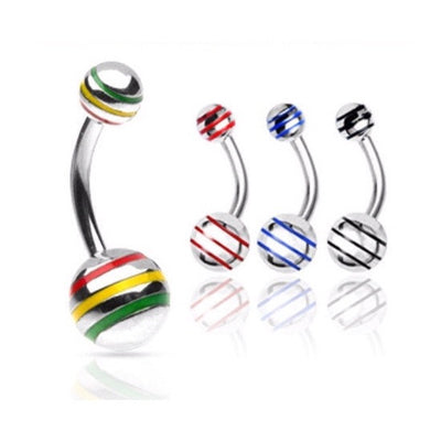 Striped Ball 316L Surgical Steel Curved Bananabell Belly Ring